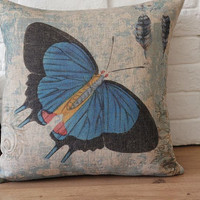 Throw Pillow Cover / Blue Butterfly Design Decorative by soul8soul