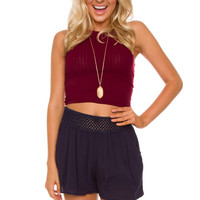 Monet Knit Crop Top - Burgundy