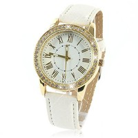 Golden Analog Watch with Rhinestone Accent For Women