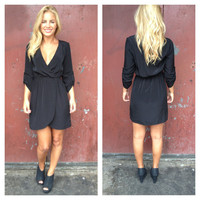 Black 3/4 Sleeve Kim Dress