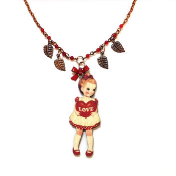 Wooden Vintage 60's little girl with ''I love you'' heart sign charm, beautiful red beads, copper dangle leaves Valentines gift Necklace