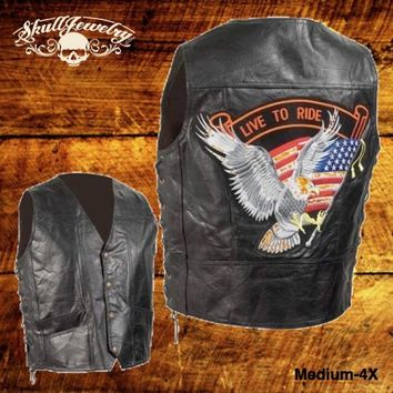 Hand-Sewn Pebble Grain Genuine Leather Biker Vest w/American Flag Patch (Medium-4X)