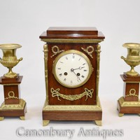 Canonbury - French Empire Mahogany Mantle Clock Garniture Set