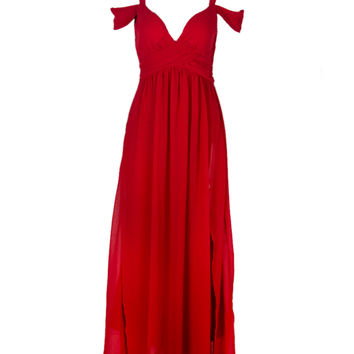 Red Cold Shoulder Split Maxi Dress