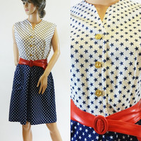 Vintage 1960s Red White and Blue Stars Belted by OdettesVintage