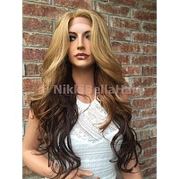 "Honey Butter Chocolate Ombre Loose Wave Human Hair Blend Multi Parting Lace Wig 24"" 1104"