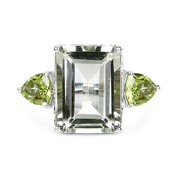 A Perfect Natural 10.59CT Emerald Cut Green Amethyst with Trillion Green Peridot Accents