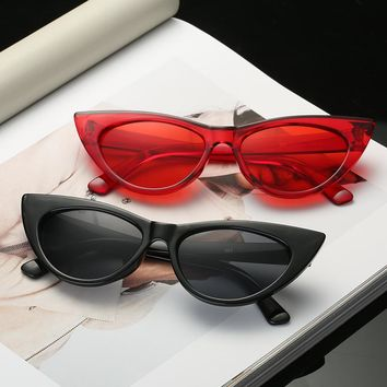 Women's Sunglasses Small Cat's Eye Sunglasses Well-known Brand Designer Black Mirror Frame Red Lens Multi-color Glasses