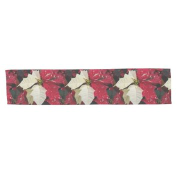 Red and White Poinsettia Floral Photo Short Table Runner