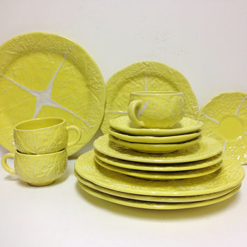 Vintage Secla Portugal Yellow Cabbage Leaf  Dinner set (15 pcs)  - dinner plates, salad plates, saucers, tea cups, Portugal