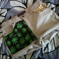Vintage maryjane weed cannabis tan studded high waist shorts