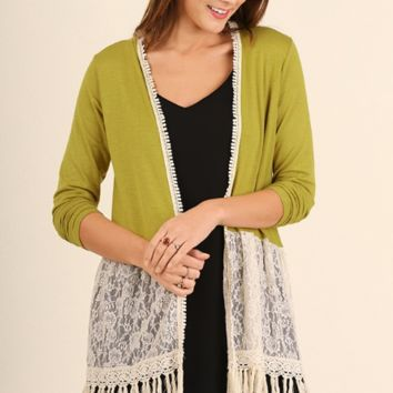 Cardigan with Lace Trim and Tassel