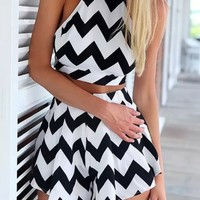 Graphic Zigzag Print Tank Shorts Matching Set - OASAP.com