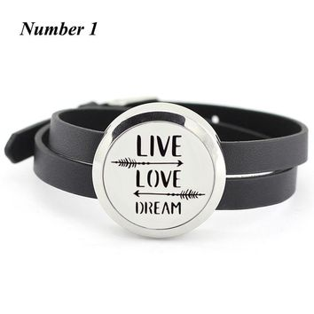 30mm twist aromatherapy Leather bracelets 316l Stainless Steel Essential Oil Diffuser Locket Bracelet for Women(with 5pads)