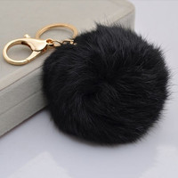 New Fashion Soft Rabbit Fur Ball Handbag Key Chain Cell Phone Car Pendant 1pcs = 5987549697