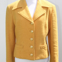 Vintage 1980s The Limited Golden Yellow Wool Blazer Military Inspired// Mustard Jacket