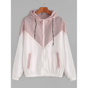 Multicolor Hooded Sporty Jacket