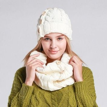 DCCKJG2 New Design Solid Color Scarf Hat Women Warm Knitted Beanies Scarf Set Crochet Cap Chapeu Feminino