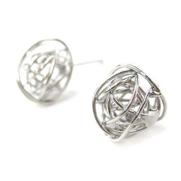 Unique 3D Round Wire Wrapped Stud Earrings in Silver