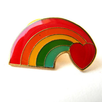 Enamel Pin, Rainbow Pin, Vintage Enamel Pin, Gay Rainbow Pin, Gay Pride, Gay Love, Lapel Pin, Hat Pin, Jacket Pin, Flair Pin