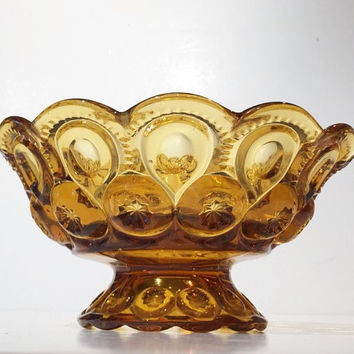 "Large Amber Glass L E Smith Moon and Stars Pedestal Bowl, Vintage L E Smith Moon & Stars 10"" Bowl"