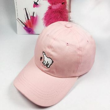 Day-First™ Pink Polar Bear Embroidered Baseball Cap Hat