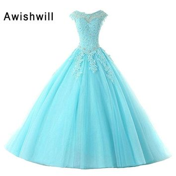 2018 Hot Sale Prom Dresses Ball Gowns Long Tulle Appliques Beaded Lace-Up Back Cap Sleeve Party Gowns Sweet 16 Dresses