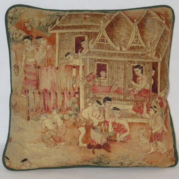 "Weaving Scene Pillow, Jims Dream , Thai Pictorial, Asian Print, Jim Thompson Fabric, Coral Brown Gold Beige, 17"" Linen, Feather Insert,"