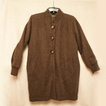 Medium Women's Long Brown Mohair Angora Venesha Sweater, Cozy Oversized Cardigan