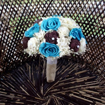 Turquoise and brown bridal bouquet | Rustic sola bouquet | Rustic wedding | Beach bouquet | Beach wedding | keepsake bouquet