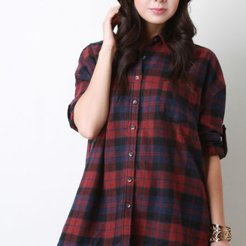 Oversized Boxy Plaid Long Sleeves Button Up Shirt