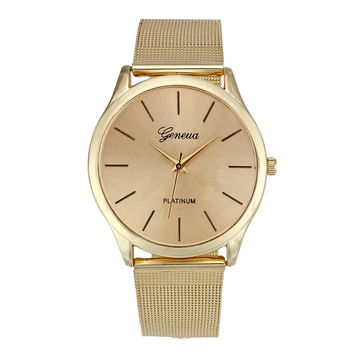 Geneva Womens Classic Golden Watch Luxury Stainless Steel Mesh Quartz Wrist Watch montre femme relogio feminino INY66
