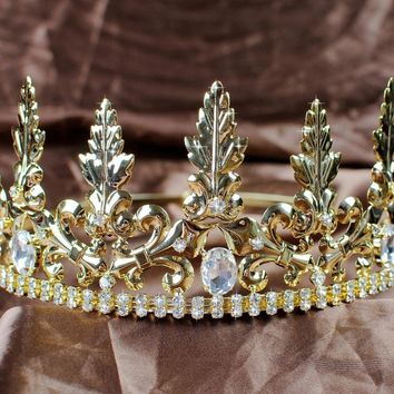 Noble Imperial Medieval King Prince Crowns for Men Gold  Austrian Rhinestones Tiara 3.5'' Art Deco Pageant Party Costumes