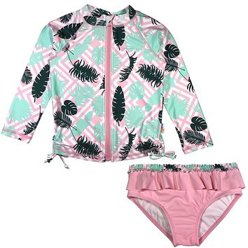 "Baby Girl Long Sleeve Zipper Rash Guard Swimsuit Set (2 Piece) UPF 50+ | ""Palm"""