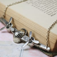 Airplane necklace spinning propellers retro by mylavaliere on Etsy