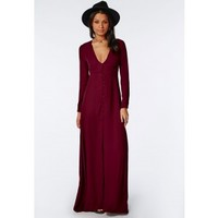 Missguided - Effie Long Sleeve Maxi Dress Burgundy
