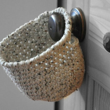 Oatmeal Hanging Storage Basket Key Catcher Doorknob Catchall Crocheted Decor Supply Holder