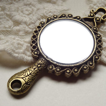 1 Vintage Style Flower Detailed Vintage Hand Mirror Pendant Antique Bronze Small Mirror Necklace Charm