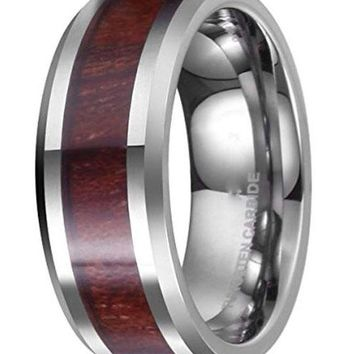 CERTIFIED 8MM NATURE Real Wood Tungsten Carbide Ring High Polished Wedding Band