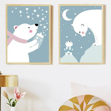 Bear Rabbit Star Moon Wall Art Canvas Painting Nordic Posters And Prints Wall Pictures For Kids Bedroom Baby Boy Girl Room Decor