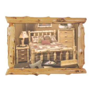 Traditional Rustic Cedar Half-Log Mirror