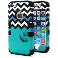 iPhone 5S Case, MagicMobile® Hybrid Impact Shockproof Cover Hard Armor Shell and Soft Silicone Skin Layer [Chevron Pattern with Heart Anchor Design Color: Black - Turquoise ] with Screen Protector and Pen Stylus