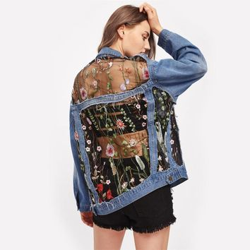 Mesh Insert Boyfriend Denim Jacket