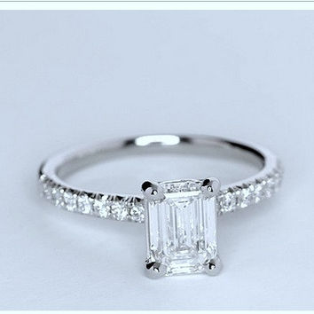1.25ct Emerald cut diamond Engagement Ring GIA certified J-VS2 Platinum JEWELFORME BLUE 900,000 GIA CERTIFIED diamonds