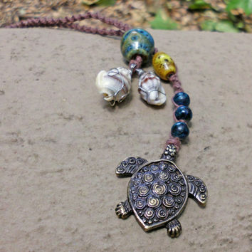 Hawaiian Honu - Sea turtle lariat - hemp tribal necklace