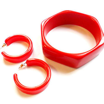 Vintage Red Jewelry Set - Bangle Bracelet - Hoop Earrings - Bright Cherry Red - Acrylic Plastic - Pierced Post - Chunky Bold - 1980s 80s