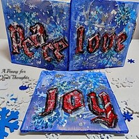 Peace, Love ,Joy Three Piece Mixed Media Canvas Board. Ready to Ship