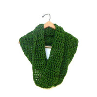 Crochet Olive Green Infinity Scarf, Super Soft, Made to Order