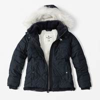 faux fur-trim puffer