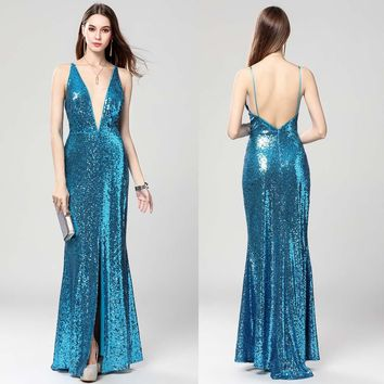 B0064 Sexy Deep V-neck Long Straps Backless High Slit Prom Ball Christams Gown Maxi Women Sequined A-Line Dresses Sleeveless